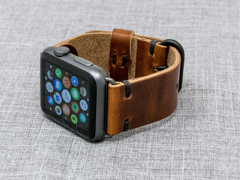 Horween Chestnut Dublin | Black Thread - The Hudson Strap for Apple Watch