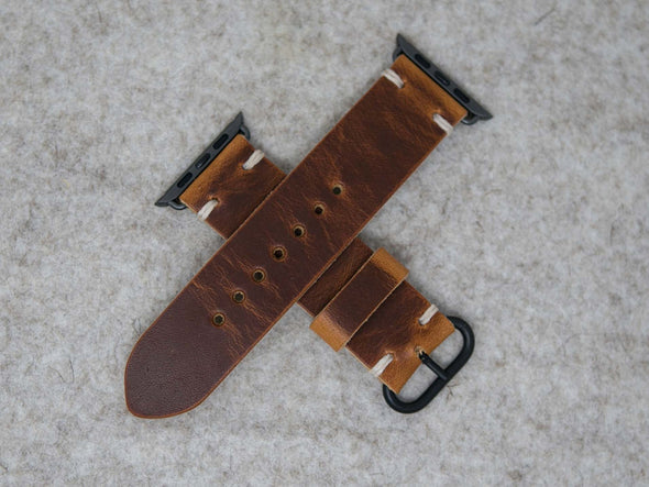 Horween English Tan Dublin | Natural Thread - The Hudson Strap for Apple Watch