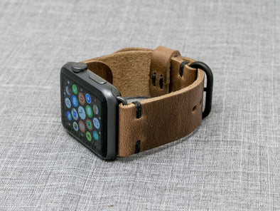 Horween Natural Chromexcel | Black Thread - The Hudson Strap for Apple Watch