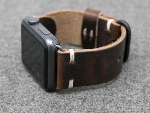 Horween Brown Nut Dublin | Natural Thread - The Hudson Strap for Apple Watch