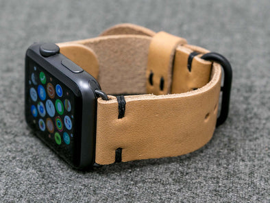Horween Natural Essex | Black Thread - The Hudson Strap for Apple Watch