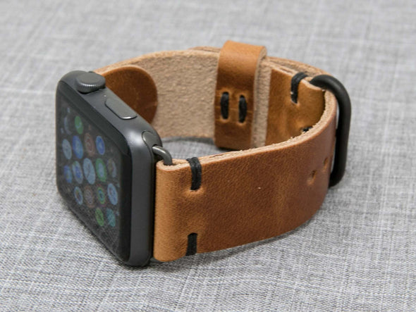 Horween Natural Dublin | Black Thread - The Hudson Strap for Apple Watch
