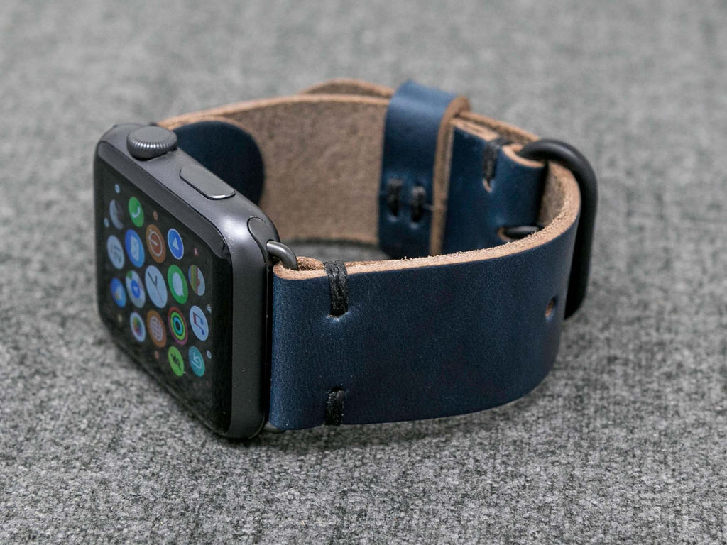 Horween Navy Chromexcel Cordovan | Black Thread - The Hudson Strap for Apple Watch