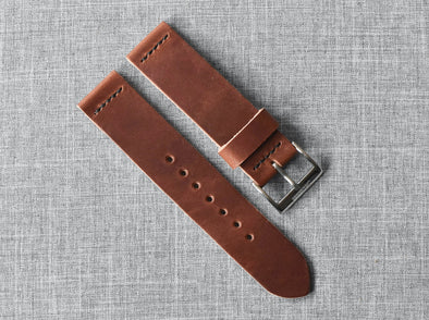 Horween English Tan Dublin | Black Thread - The Potomac Strap
