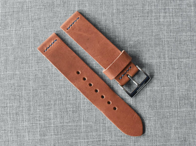 Horween Natural Dublin | Royal Blue Thread - The Potomac Strap
