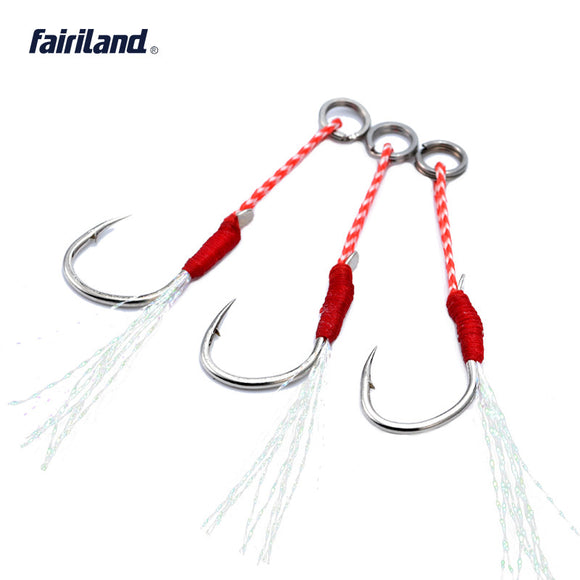 Taiwan BKK High Carbon Steel Barbed Light Jigging Assist Hooks 10/12/14/16# 20KG Boat Fishing Hooks