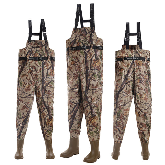 Camouflage Fly Fishing Waders Taiwan 420D Nylon 41-46# Breathable Waterproof Chest Wader Boots Pants