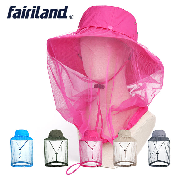 Quick Dry Bucket Hat with Storage Mosquito Net Insect Bug Free Face Protector Cap Wide Brim Sun Hat