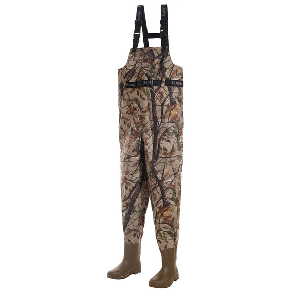 USA Warehouse Camouflage Fly Fishing Waders Taiwan 420D Nylon Breathable Waterproof Chest Wader Boots Pants