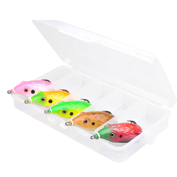 5.5cm/12.5g Soft Frog Fishing Lure Set Rubber Frog Bait Double Hooks Copper Spinner Blade Tackle Box
