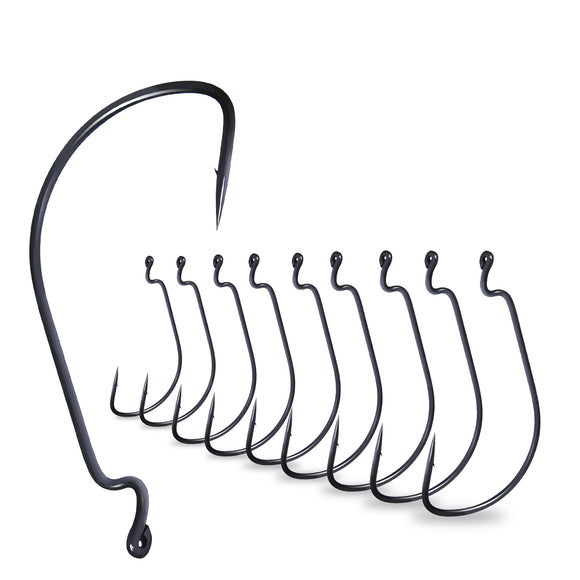 20pcs Teflon Coated Wide Gap Offset Hook High Carbon Steel Soft Bait Holder