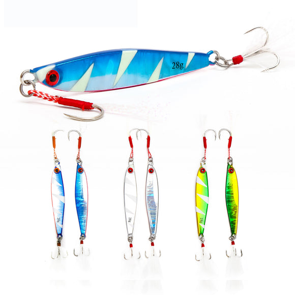 Lead Bait Jig Lure 14g/21g/28g with Head Hook and Rear Hook 6pcs/lot 3 Color Even Mixed