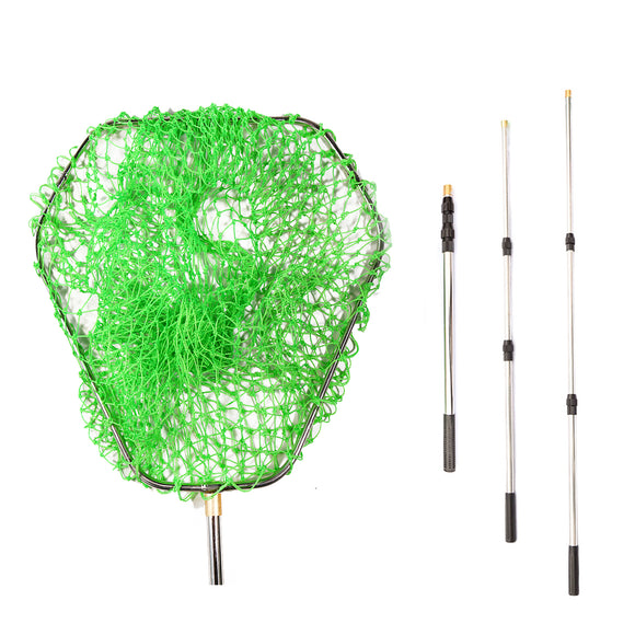 Fishing Landing Net 2.6m Foldable Brail Nylon Mesh 60*60cm Hand Net Stainless Steel Retractable Pole