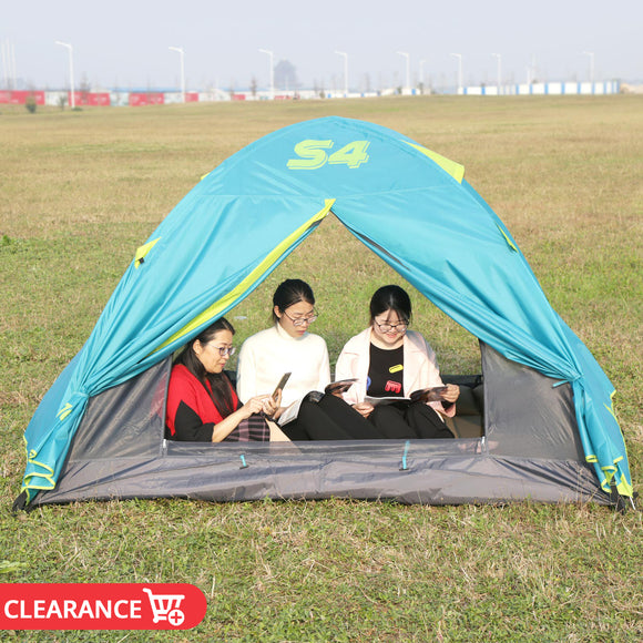 4 Person Family Travel Tent Anti Mosquito Camping Tent Sun Shelters Aluminum Pole Double Layer