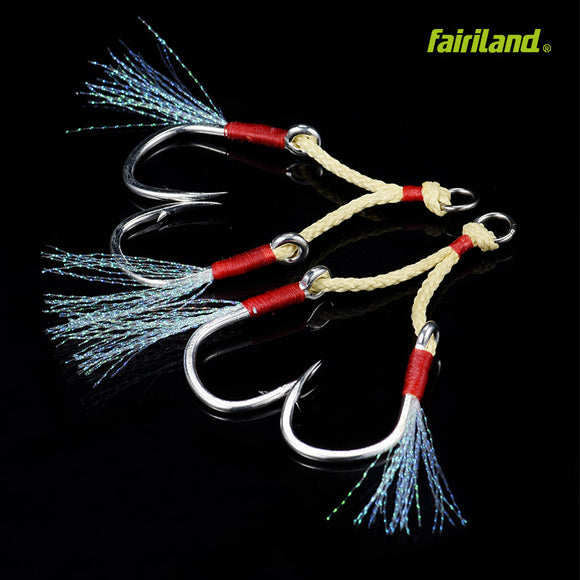 Sea Fishing BKK Jigging Hook w/ Kevlar Line Up to 88/40 Test-lb/kg Large Size Assist Barbed Hook