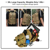30L Men's Backpack with 3 Layers Compartments Excellent Travel Bag Organizer