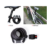 1.8m Five-digit Password Bicycle Cycling Lock Self Coiling Resettable Combination Cable Bike Locker