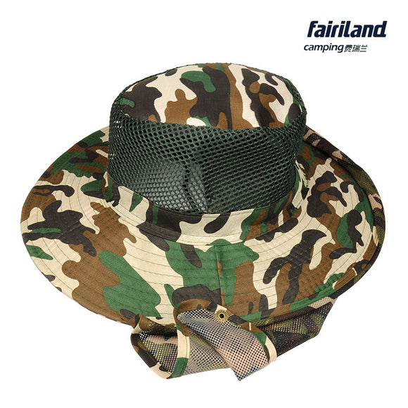 Unisex Camouflage Fishing Cap with Wide Brim and Shawl Neck Protection Outdoor Camping Hat