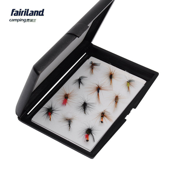12pcs/Lot Fly Fishing Lures Dry Fliers Feather Hooks Insect Bait with Fly Lure Hook Storage Case