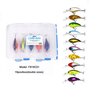10pcs 7cm/15g Crank Bait 10 Color Even Mixed with Lure Box