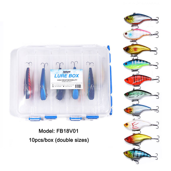 10pcs 7cm/16g VIB Fishing Lures Two Treble Hooks ABS Plastic Artificial Sinking Hard Bait