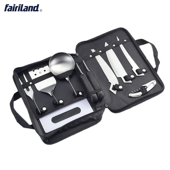 8pcs/pack Portable Camping Tableware Picnic Set Outdoor Kitchen Cooking Set Stainless Steel BBQ Tool