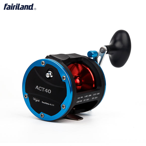 4BB 4.1:1 ACT40 Boat Fishing Reel Drum Trolling Reel Right Hand 18KG Drag Power Baitcasting Reel-USA