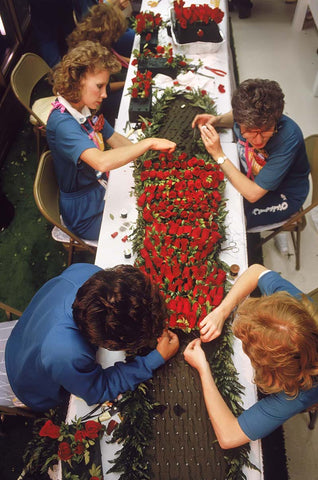 Making the garland of roses