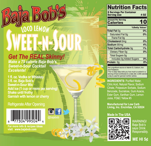 Baja Bob's Sweet & Sour Mix - 32oz. - Sugar Free Cocktail Mixer