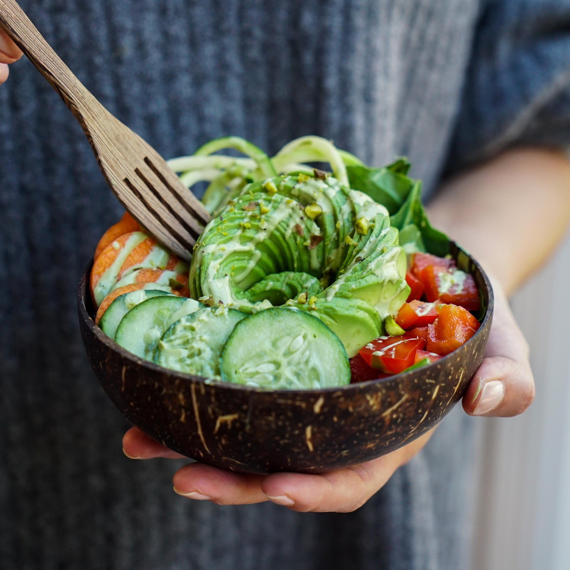 Avocado Zoodles with Creamy Matcha Tahini