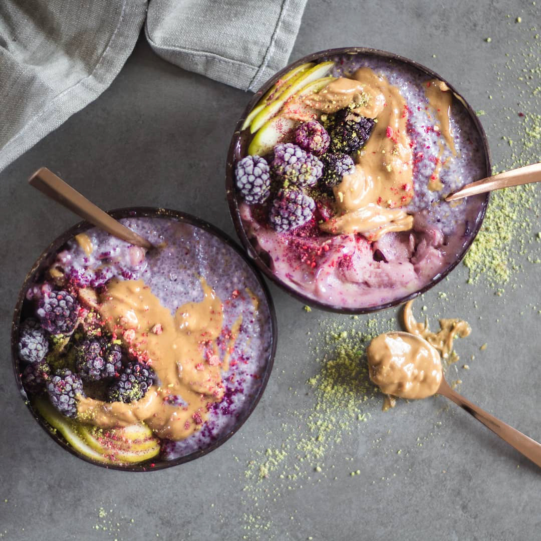 Blackberry Chia Pudding with Peanut Butter