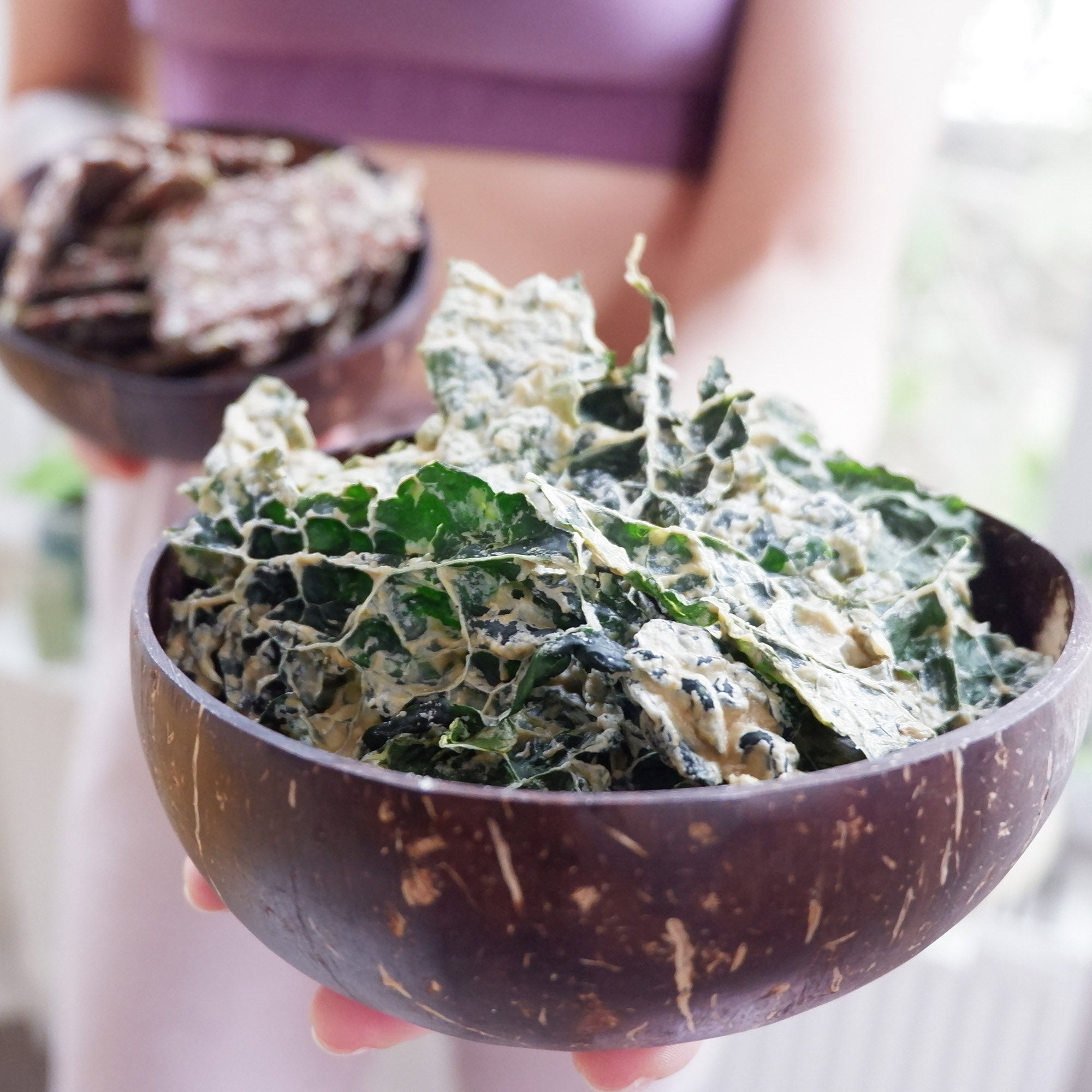 Crunchy Kale Chips with Spicy Cashew Sauce