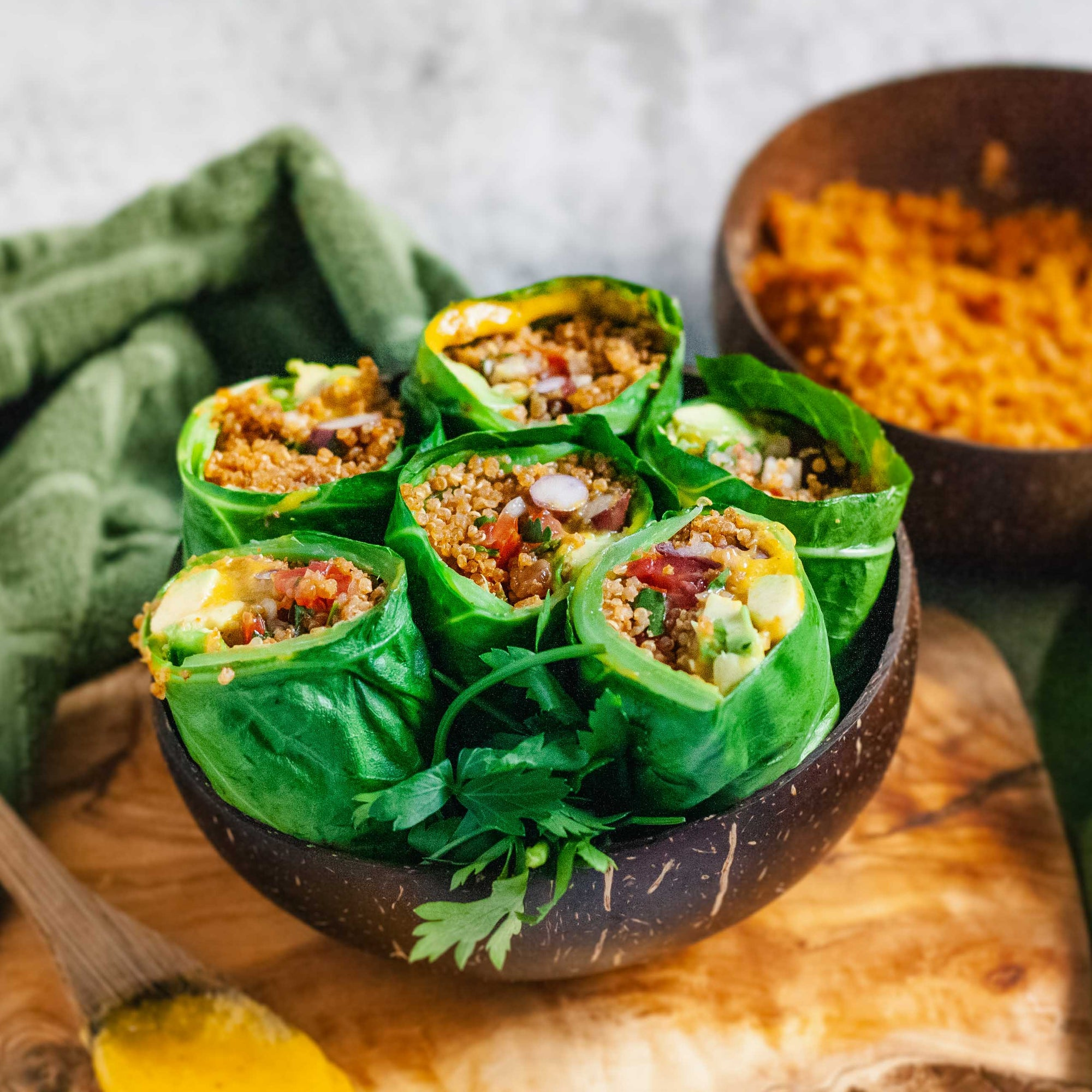 Mexican Collard Burritos with Smokey BBQ Quinoa Meat