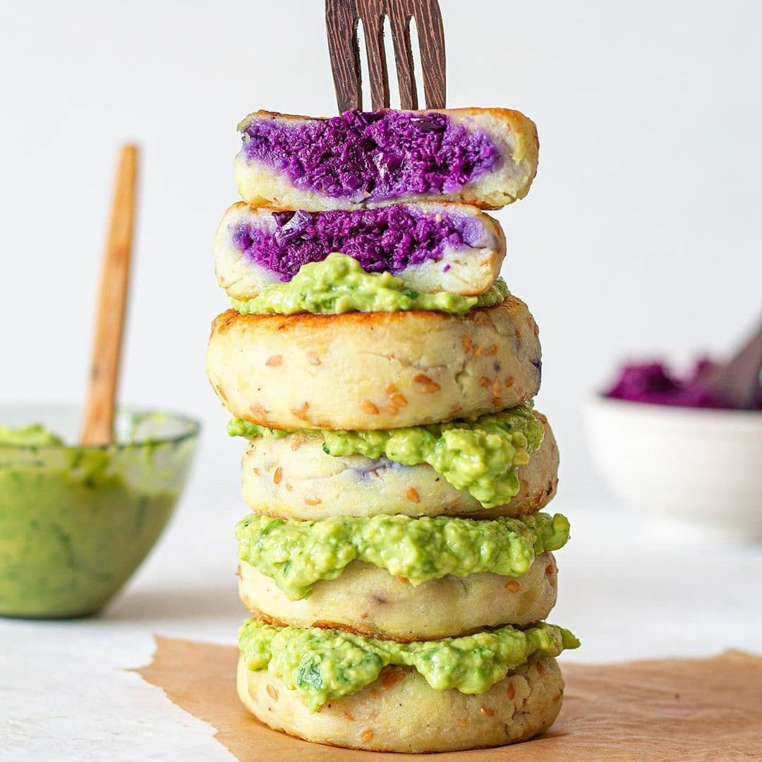 Potato Patties with Creamy Avocado Dip