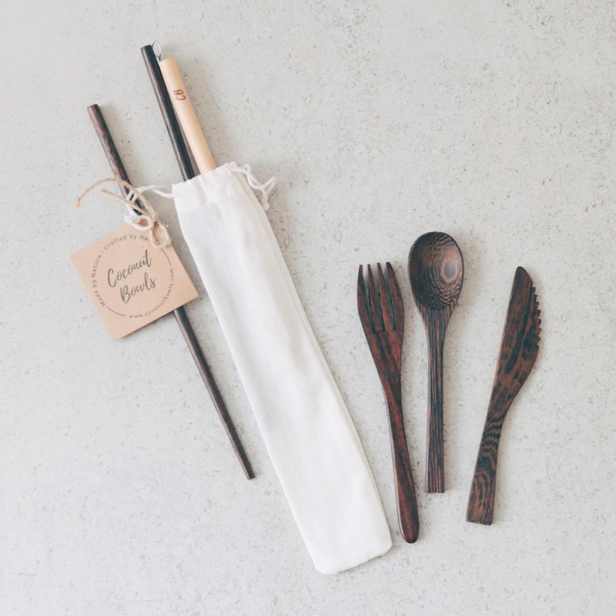 Wooden Buddha Cutlery Set