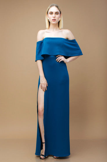 THE SPECTRUM Two Way Off Shoulder and Flounce Scuba Maxi Dress with High Slit (TEAL)