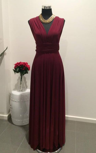 Dark Magenta Convertible/Multi-Way Maxi Dress