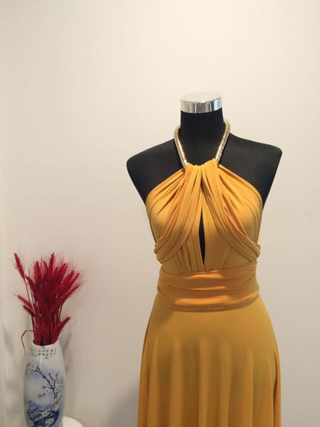 Mustard Yellow Convertible/Multi-Way Maxi Dress