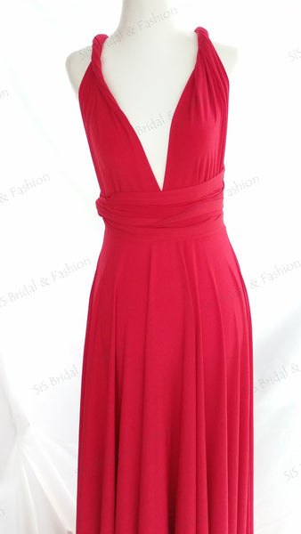 Dark Red Convertible/Multi-Way Dress