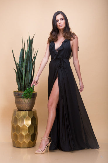 Florence Ruffle Maxi Dress in Black