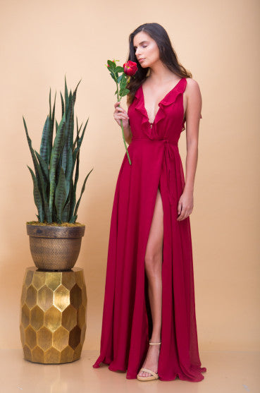 Florence Ruffle Maxi Dress in Red