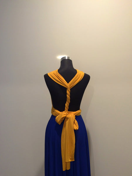 Mustard Yellow & Royal Blue Convertible/Multi-Way Maxi Dress