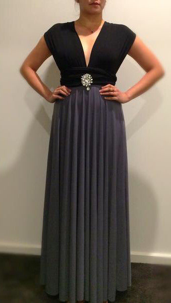 Black & Grey Convertible/Multi-Way Maxi Dress
