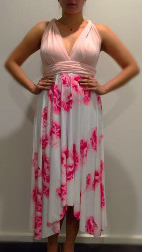 Cameo with Pink Floral Convertible/Multi-Way Midi Dress