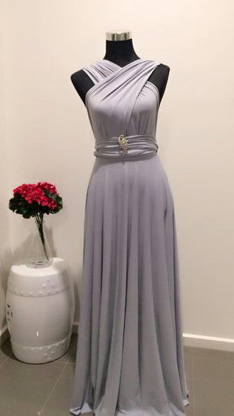 Light Grey Convertible/Multi-Way Maxi Dress