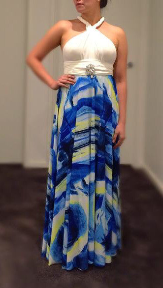 White & Blue Print Convertible/Multi-Way Maxi Dress