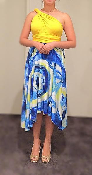 Yellow & Blue Print  Convertible/Multi-Way Midi Dress