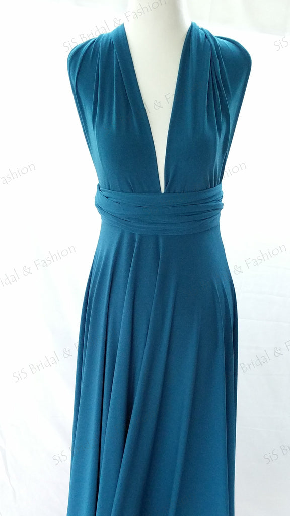 Teal Blue Convertible/Multi-Way Maxi Dress