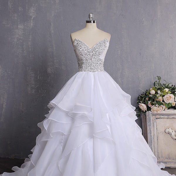 "Laura Bridal Couture ""Beaded Top- Ruffled Princess """