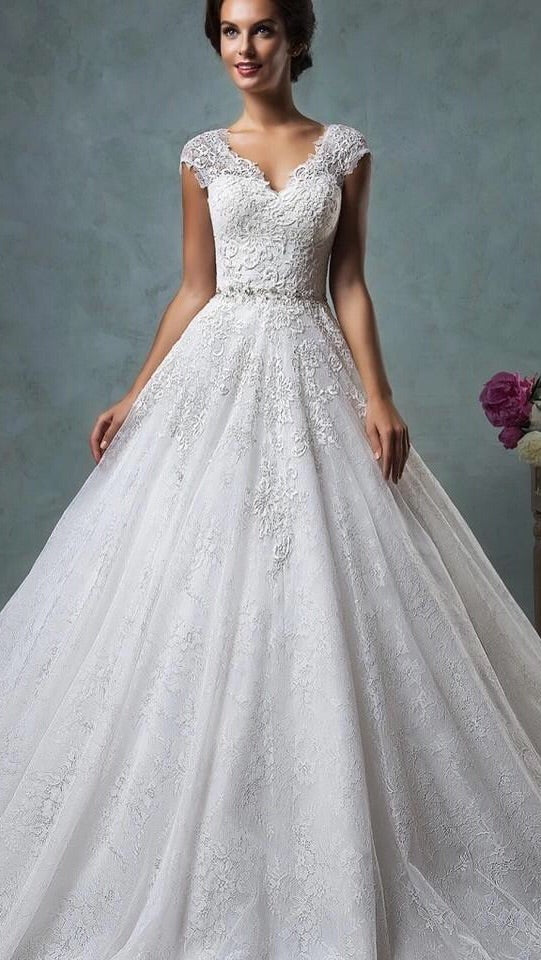 Laura Bridal Couture Lace Backless Ball Gown